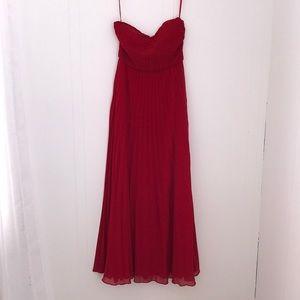 WORN ONCE-Lulu's Apple Red Strapless Chiffon Dress